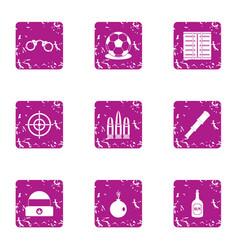 Seizure icons set grunge style vector