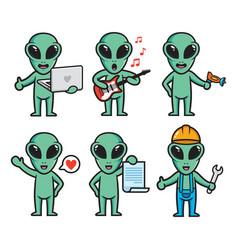 set alien character design vector image