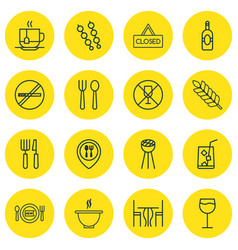 Set of 16 food icons includes dining room vector