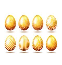 set of easter golden eggs vector image