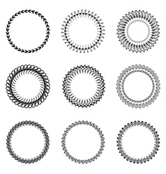 Set of round wreaths frames Hand Drawn wedding or vector