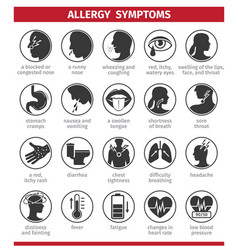 Signs and symptoms allergies icons set vector