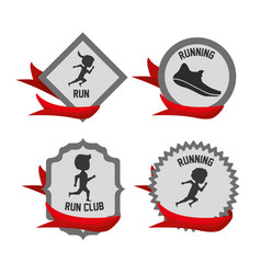 silhouette set icon related with running and vector image