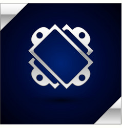 Silver ticket icon isolated on dark blue vector