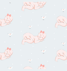 sleeping newborn seamless pattern for baby vector image