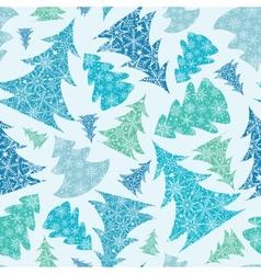 Snowflake Textured Christmas Trees seamless vector image