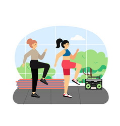sport and fitness activities two young women vector image