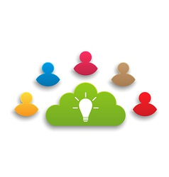 Teamwork results in creating ideas vector image