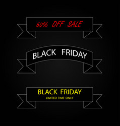 three ribbon banners black friday sale black vector image