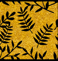 tile tropical pattern with black leaves on gold vector image