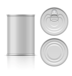 Tin can with ring pull side top and bottom view vector image