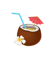 tropical cocktail in coconut with straw and vector image