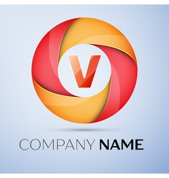 V letter colorful logo in the circle template for vector