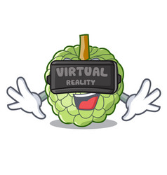 Virtual reality fresh custard apple sweet fruit vector