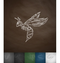 Wasp icon Hand drawn vector