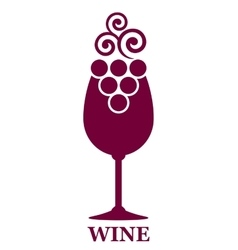 wine glass and grapes icon vector image