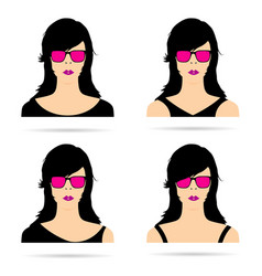 woman head with sunglasses set sensual vector image