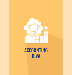 Woman professional in accounting greeting card vector