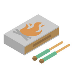 Wood matches box icon isometric style vector