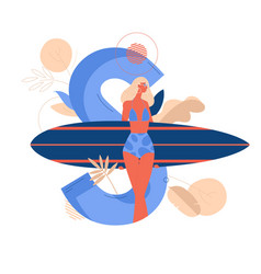 Young woman with surfboard on large letter s vector