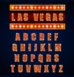 alphabets lamp of light neon of gold vector image