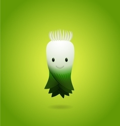 Baby Green Leek Cartoon Character vector image