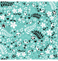 birds and flowers turquoise blue seamless pattern vector image vector image
