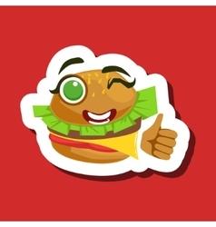 Burger sandwich showing thumbs up cute emoji vector