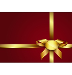 Golden ribbon bow and label vector image vector image