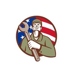 Mechanic Holding Wrench USA Flag Circle Retro vector image vector image