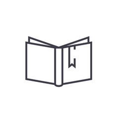 open book with tag sign line icon sign vector image