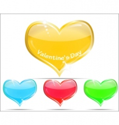 decorative glass hearts vector image vector image