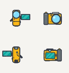 Line icon photo video camera vector image vector image