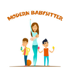 Modern stylish babysitter vector