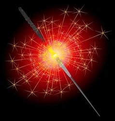 Sparkler on a red-black background vector image