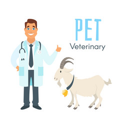 veterinarian doctor with goat vector image vector image