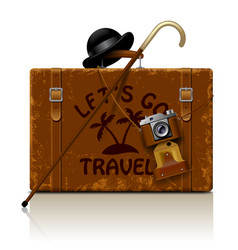 vintage brown threadbare suitcase with walking vector image vector image