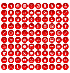 100 kettlebell icons set red vector