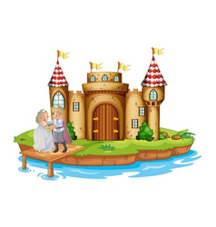 A prince and a princess at the wooden bridge near vector image