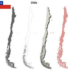 Chile outline map set vector image vector image