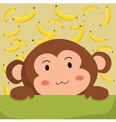 Close up Cute Monkey and Banana Cartoon vector image vector image