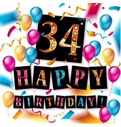 color full 34 th birthday celebration vector image