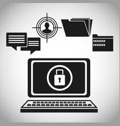 computer data protection padlock vector image vector image