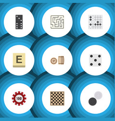 flat icon play set of bones game poker lottery vector image vector image