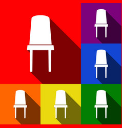 office chair sign set of icons with flat vector image
