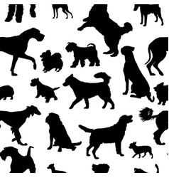 seamless pattern with dog silhouettes vector image vector image