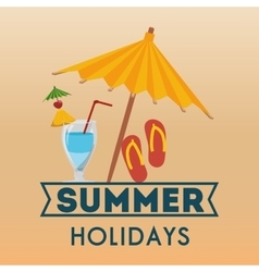 summer holidays beach umbrella flip flop cocktail vector image