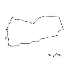 yemen map of black contour curves on white vector image vector image
