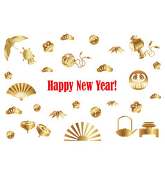 a new years card with japanese lucky charms vector image