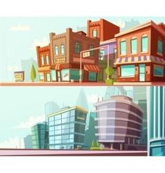 City Skyline 2 Horizontal Banners Set vector image vector image